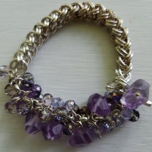 Kenneth Cole silver braids and purple charm bracel